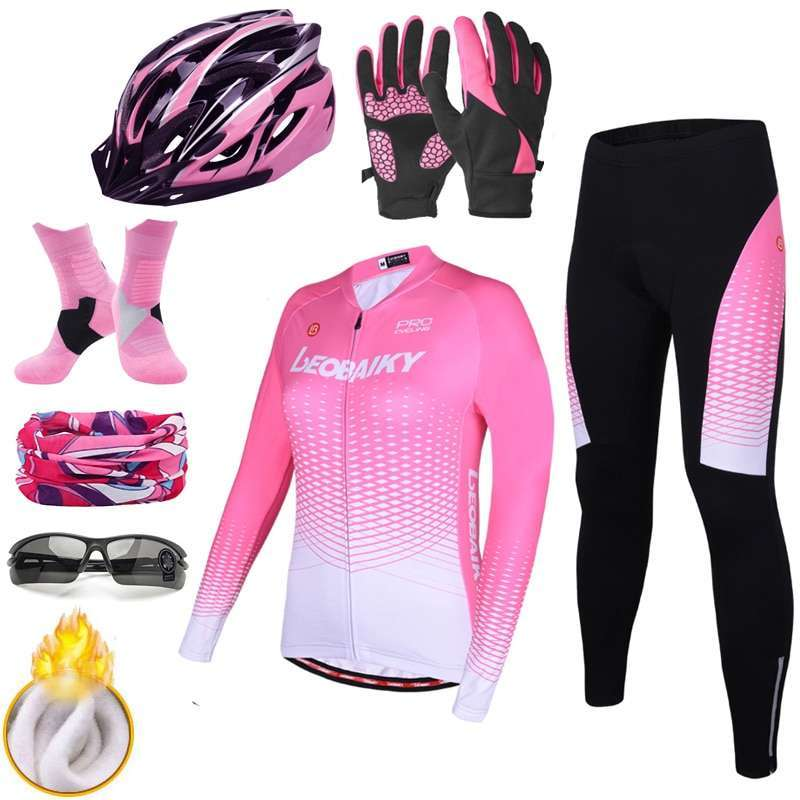LEOBAIKY Pro Team Cycling Jersey Set Long Sleeve Winter Thermal Fleece Bicycle Clothes Women Bike Clothing