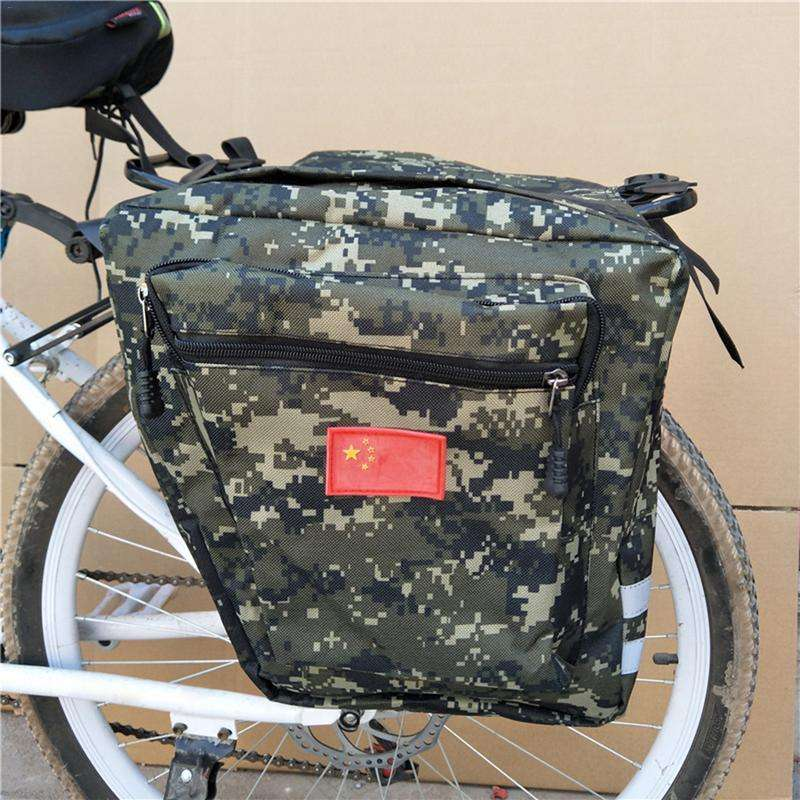 Mountain Road Bicycle Bike 2 In 1 Camo Trunk Bags Cycling Double Side Rear Rack Tail 2