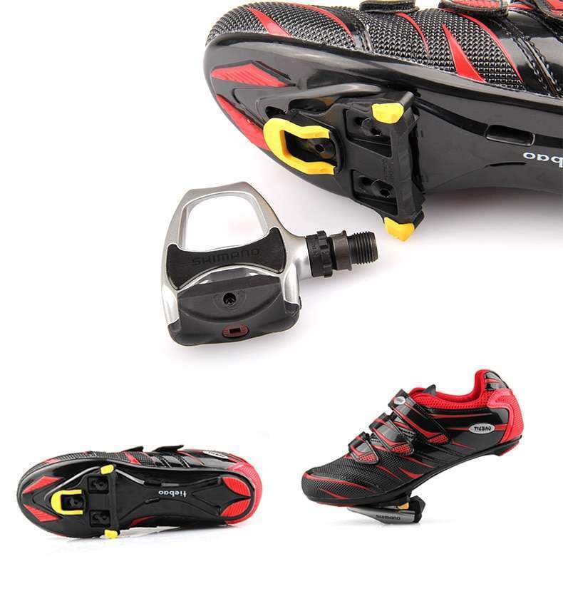 One set 2 x Bicycle Bike Self locking Pedal Cleats Set Yellow road Mountain Outdoor Cycling 1