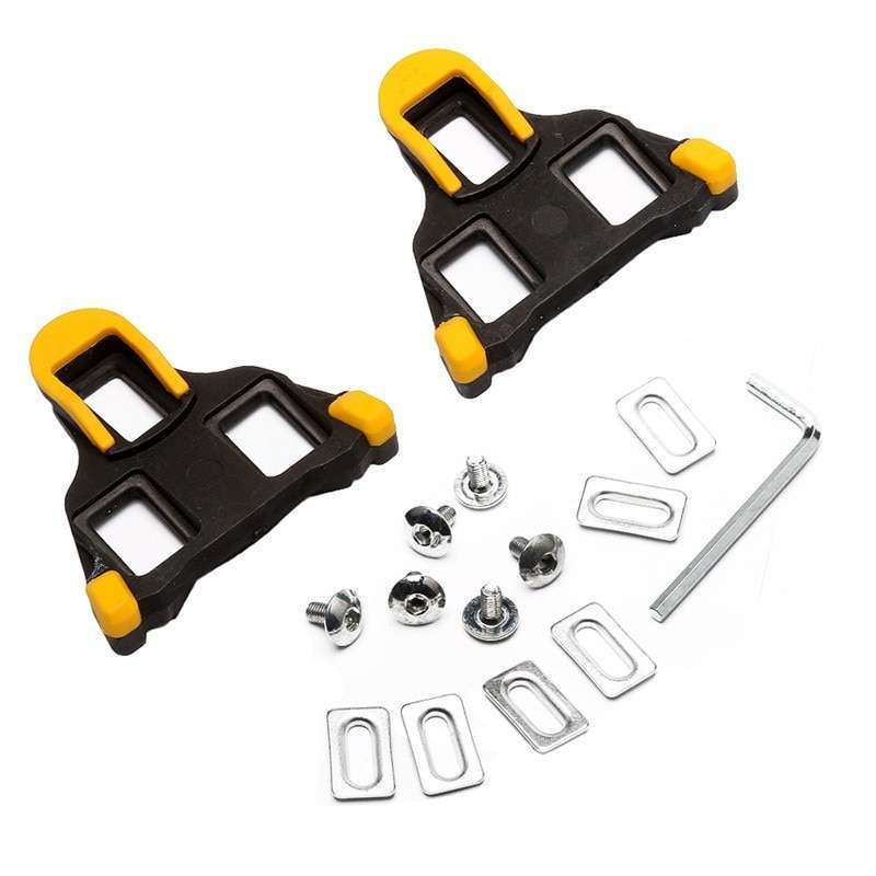 One set 2 x Bicycle Bike Self locking Pedal Cleats Set Yellow road Mountain Outdoor Cycling