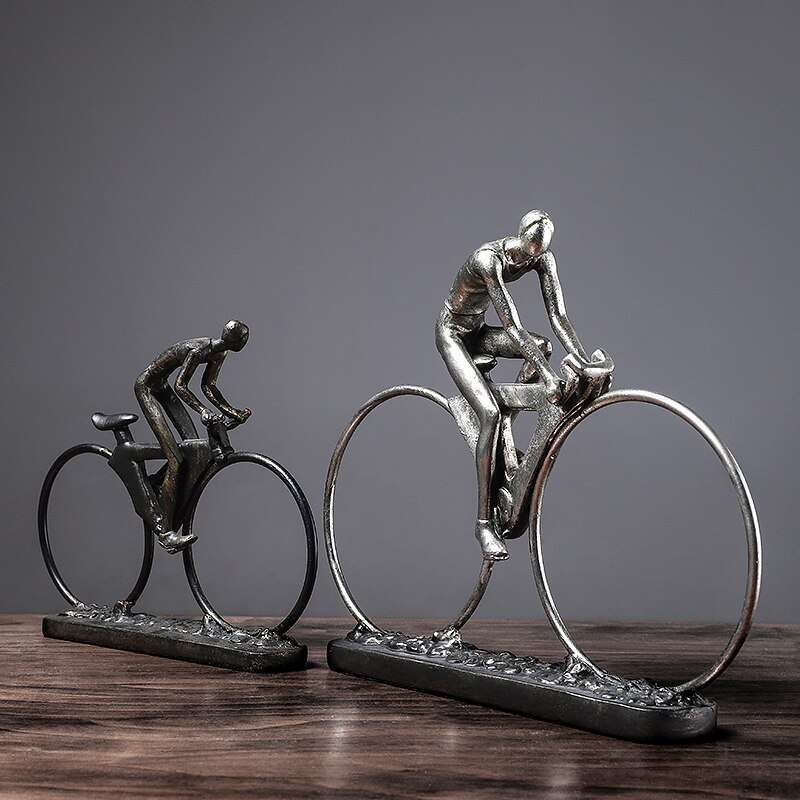 Resin Cycling Abstract Character Statues Figurines Ornaments Sculpture Crafts Home Office Decoration Accessories Wedding Gift 1