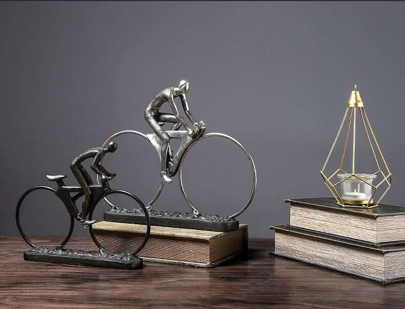 Resin Cycling Abstract Character Statues Figurines Ornaments Sculpture Crafts Home Office Decoration Accessories Wedding Gift 3