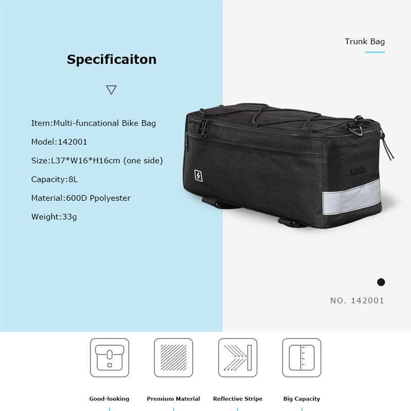 Roswheel Sahoo Series 142001 Bike Bicycle Thermal Insulated Trunk Bag Cooler Lunch Bag Pannier Pack With 1