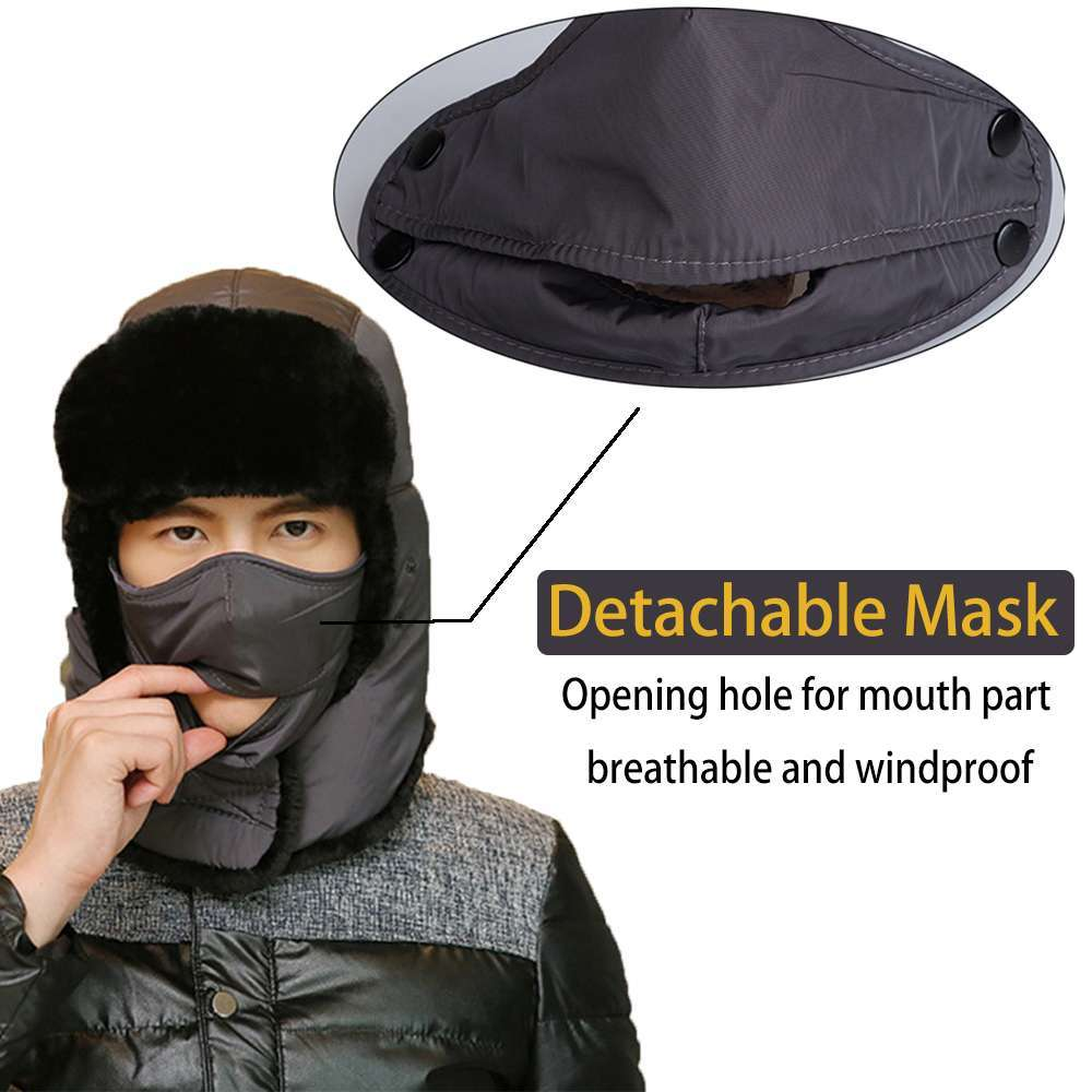 Thicken Winter Hat Men Women Bomber Hats Thermal Full Face Mask Neck Guard Warm Earflap Outdoor 2