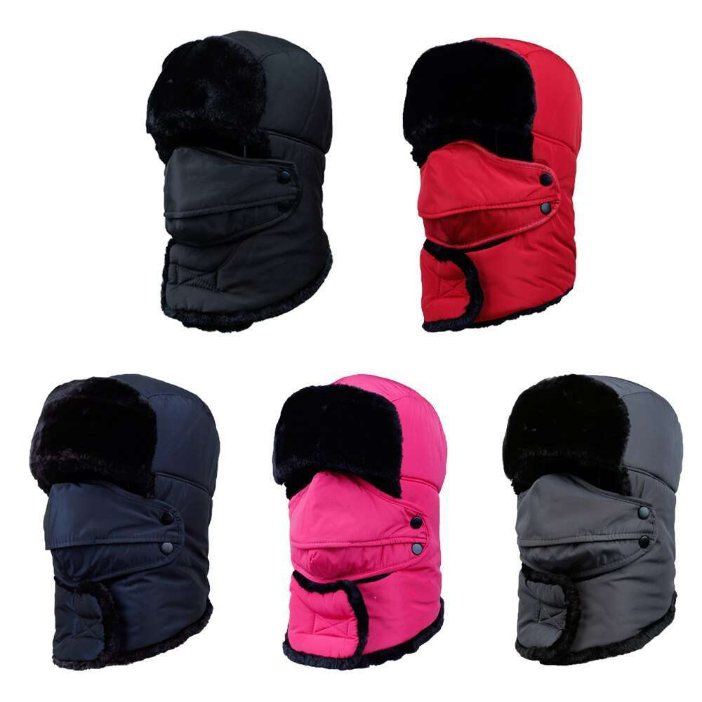 Thicken Winter Hat Men Women Bomber Hats Thermal Full Face Mask Neck Guard Warm Earflap Outdoor 4