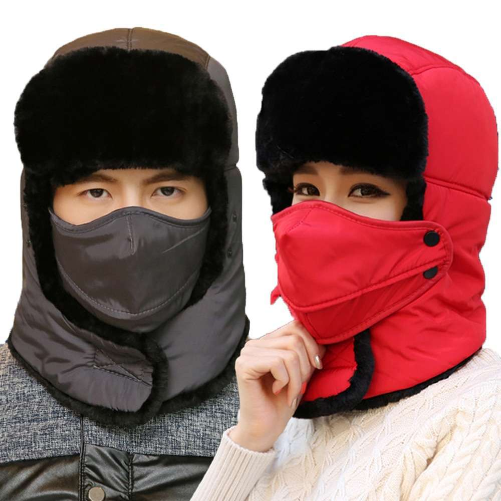 Thicken Winter Hat Men Women Bomber Hats Thermal Full Face Mask Neck Guard Warm Earflap Outdoor 5