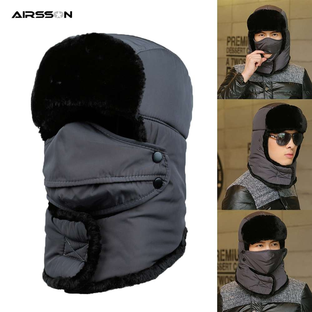 Thicken Winter Hat Men Women Bomber Hats Thermal Full Face Mask Neck Guard Warm Earflap Outdoor