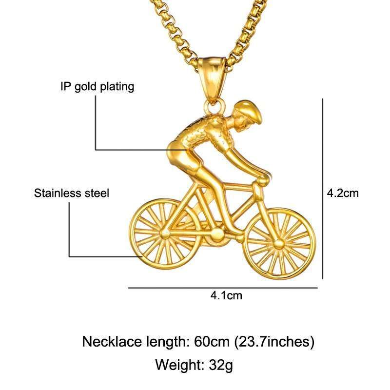 US7 Bike Pendant men Necklace Stainless Steel Cycling Necklace Charms Body Bicycle Sports Necklace Cycling Jewelry 1