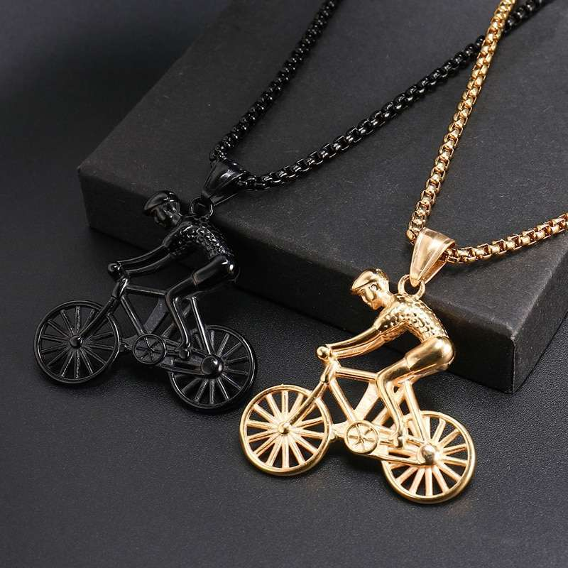 US7 Bike Pendant men Necklace Stainless Steel Cycling Necklace Charms Body Bicycle Sports Necklace Cycling Jewelry 4