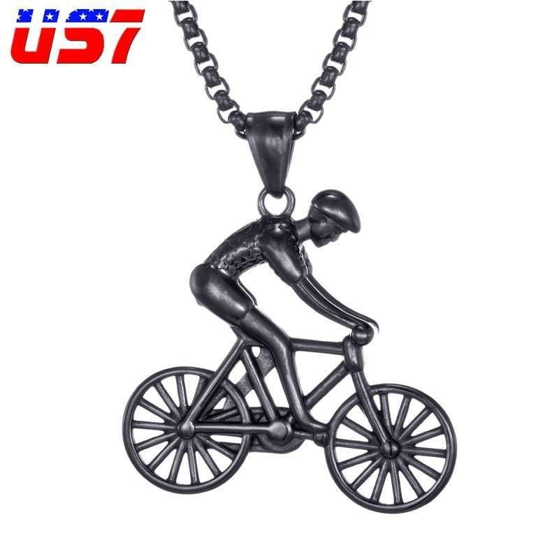 US7 Bike Pendant men Necklace Stainless Steel Cycling Necklace Charms Body Bicycle Sports Necklace Cycling Jewelry