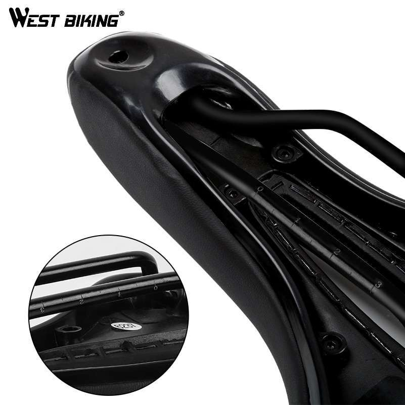 WEST BIKING Bike Saddle Silicone Cushion PU Leather Surface Silica Filled Gel Comfortable Cycling Seat Shockproof 1