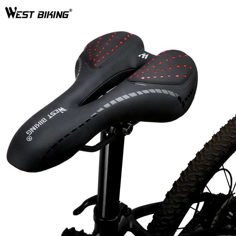 WEST BIKING Bike Saddle Silicone Cushion PU Leather Surface Silica Filled Gel Comfortable Cycling Seat Shockproof 2