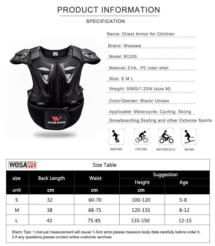 WOSAWE Kids Body Chest Spine Protector Protective Guard Vest Cycling Jacket Children Amour Gear for Motocross 5
