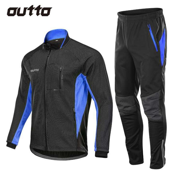 Winter Warm Fleece Riding Jacket And Pant Windproof Thermal Outdoor Sportswear Waterproof Man Racing Bicycle Cycling 1
