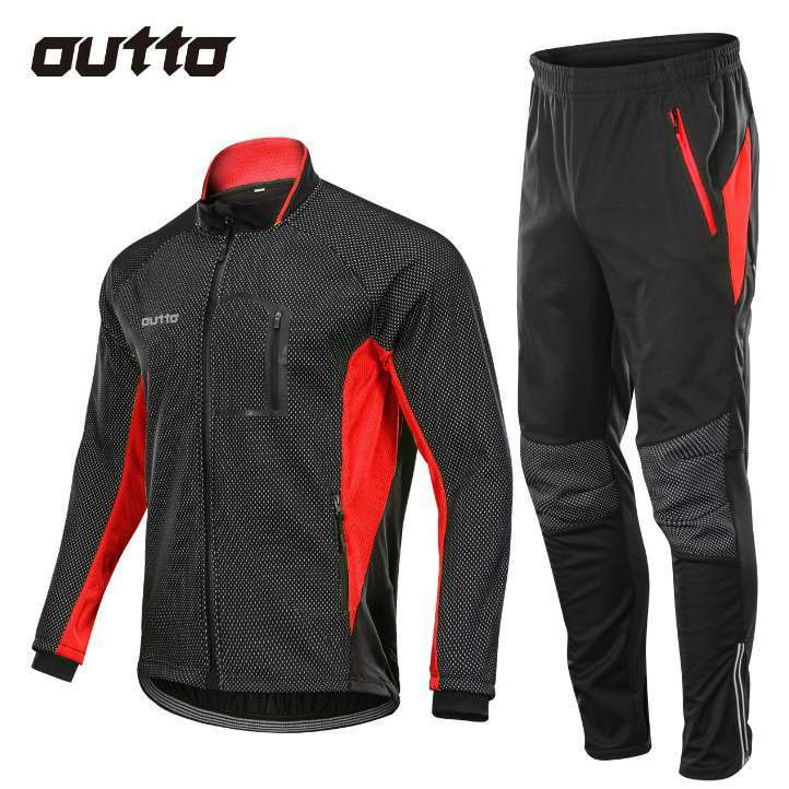 Winter Warm Fleece Riding Jacket And Pant Windproof Thermal Outdoor Sportswear Waterproof Man Racing Bicycle Cycling 2