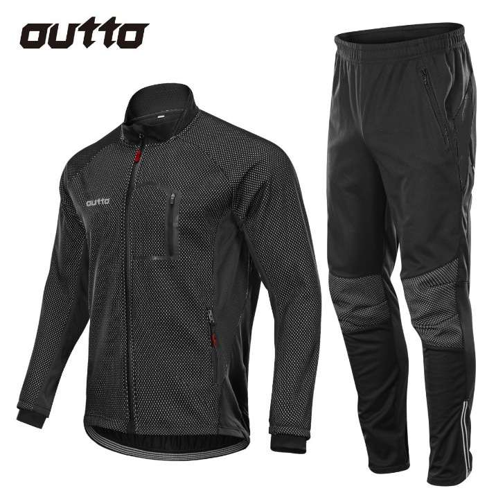 Winter Warm Fleece Riding Jacket And Pant Windproof Thermal Outdoor Sportswear Waterproof Man Racing Bicycle Cycling 3