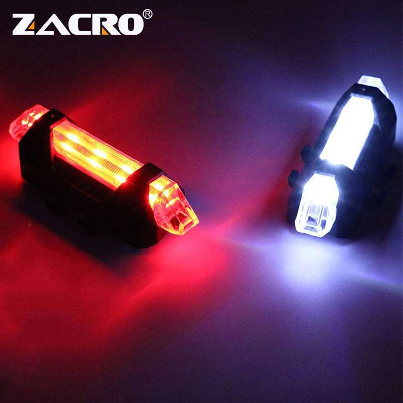 Zacro Bike Bicycle light LED Taillight Rear Tail Safety Warning Cycling Portable Light USB Style Rechargeable