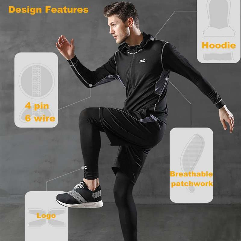 Men Sportswear Hooded Compression Sports Suit Man Jogging Running Training Fitness Gym Clothes Black Gray Green 3
