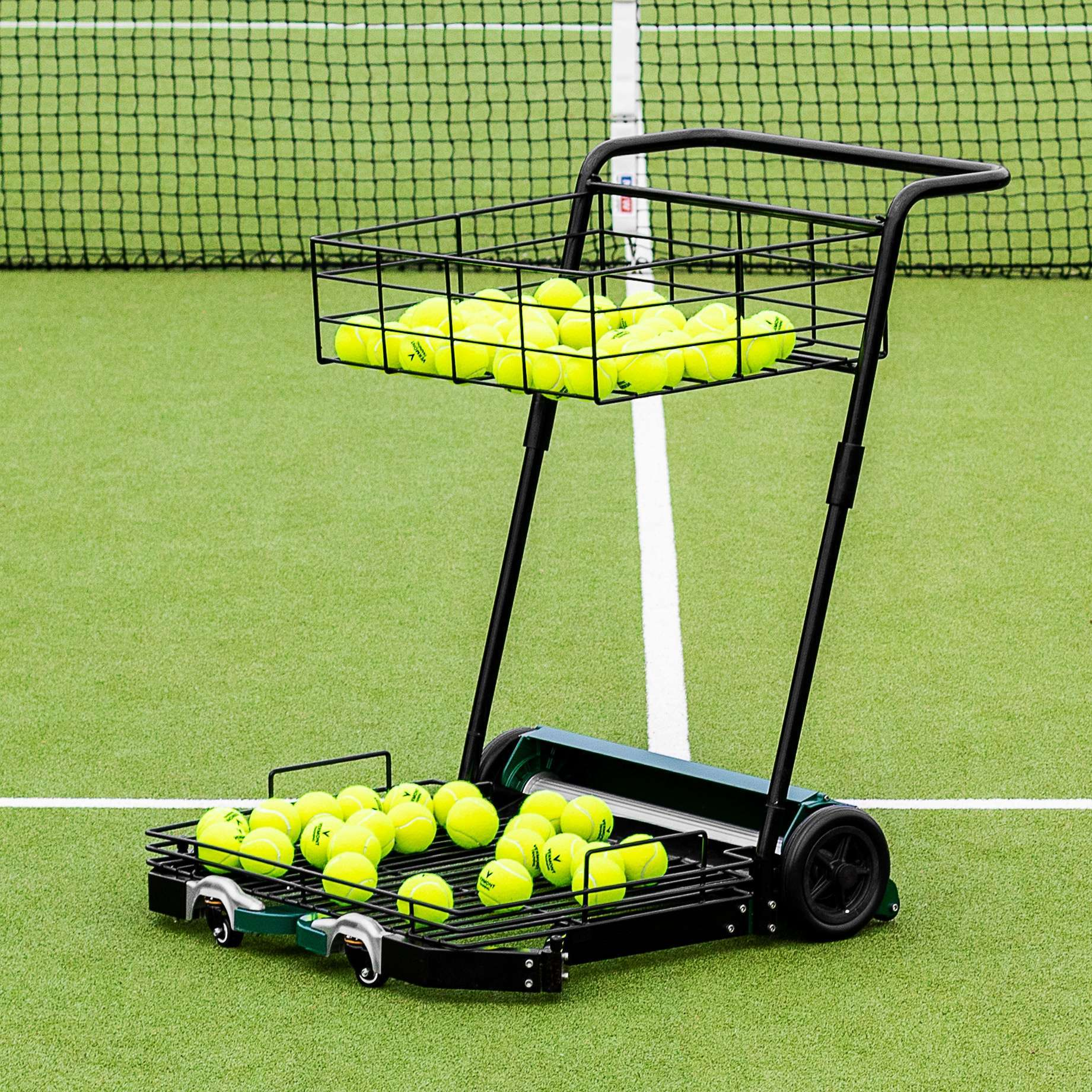 tennis ball collector with top bottom basket