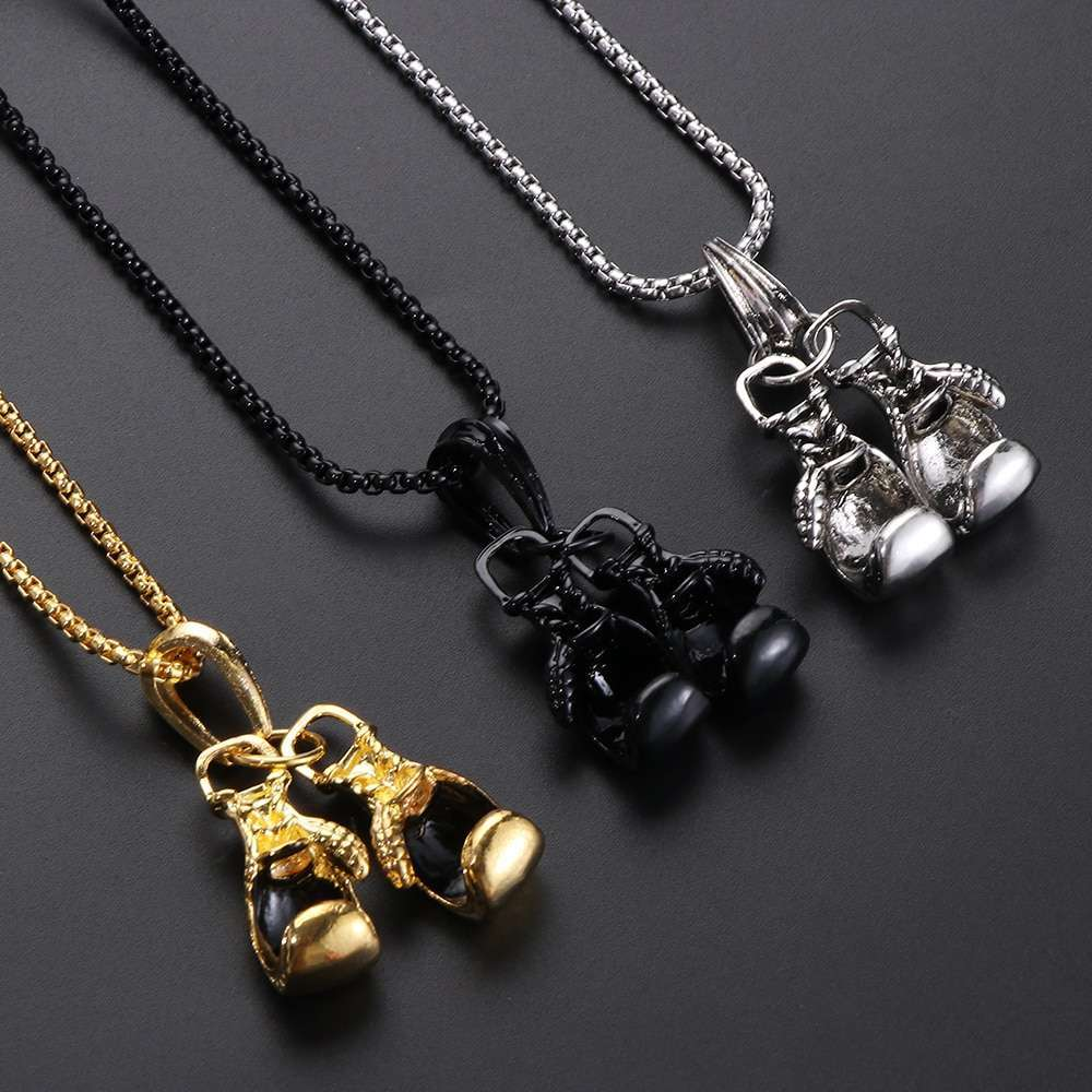1Pc Gold Silver Plated Mini Boxing Glove Necklace Boxing Jewelry Stainless Steel Cool Charm Pendant Men