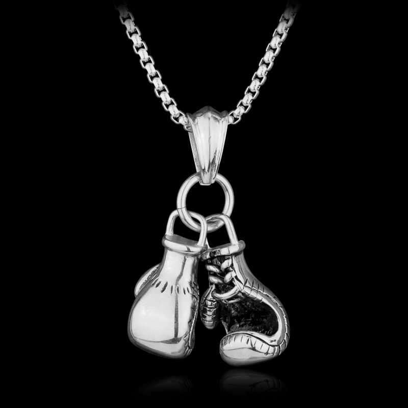 boxing silver gold pendant necklace