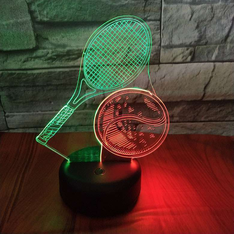 3D Tennis Racket Color Changing Night Lamp