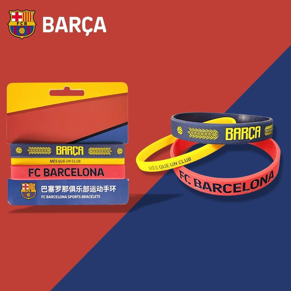 FC Barcelona Official 3 Pcs/Set Silicone Wristbands