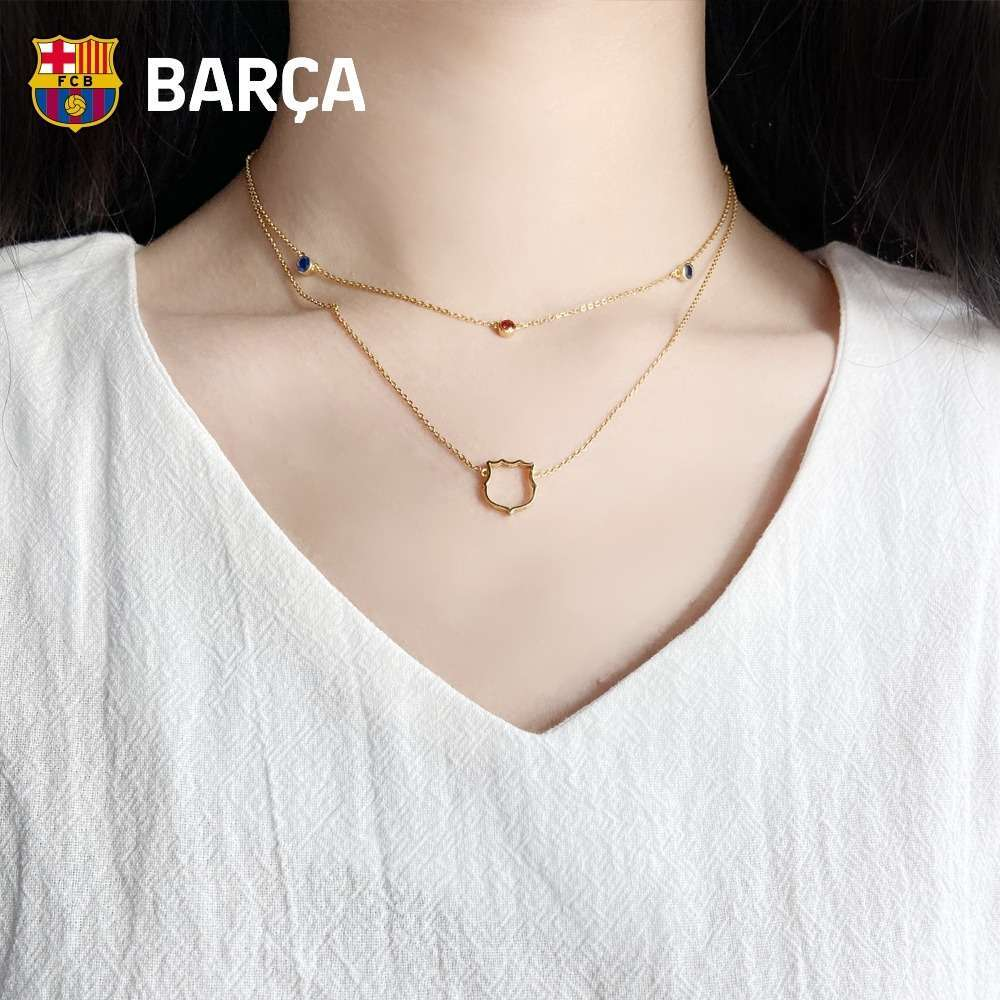 FC Barcelona 18K Gold Double-strand Red and Blue Heart Necklace