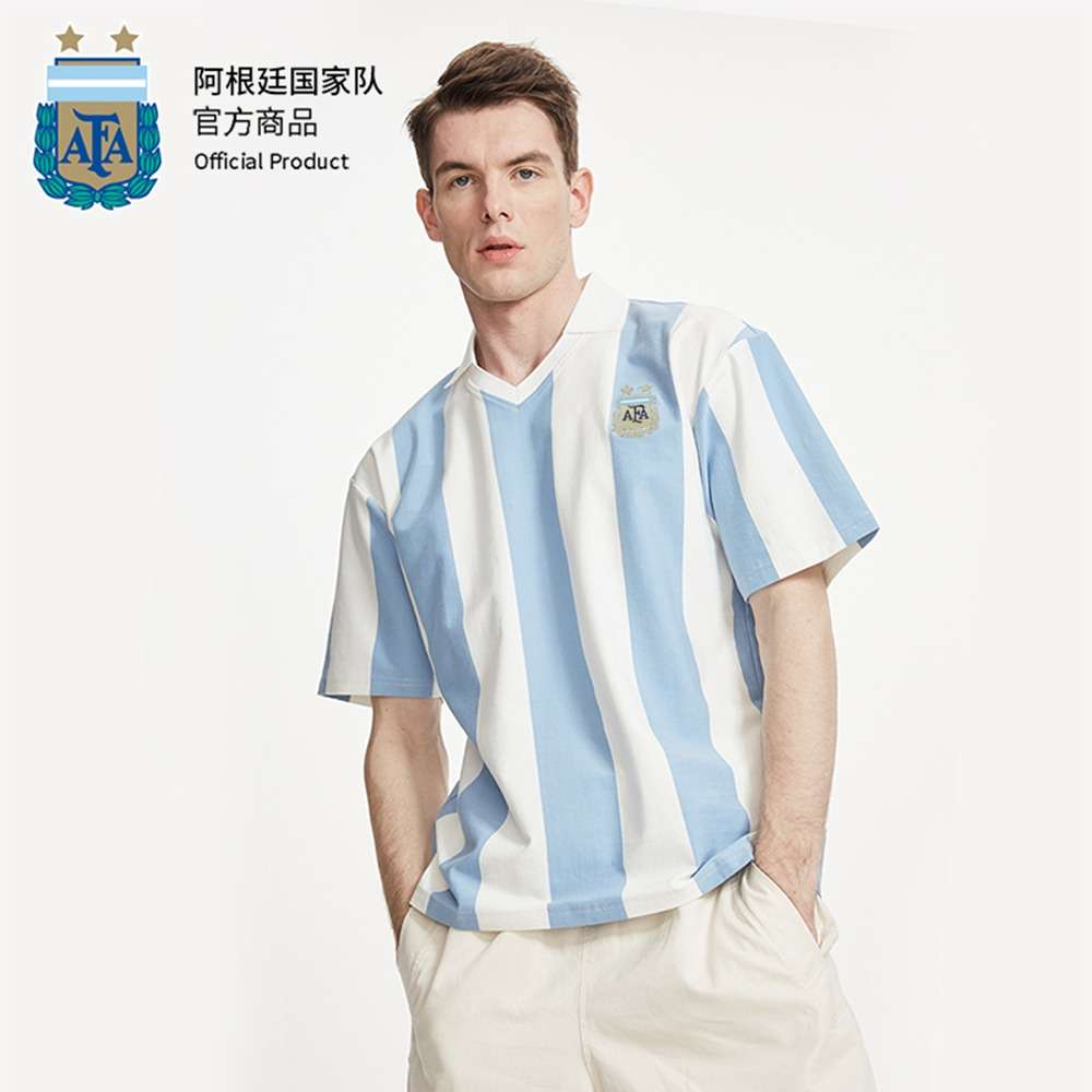 Argentina National Team Official Unisex Blue and White Polo Jersey Shirt