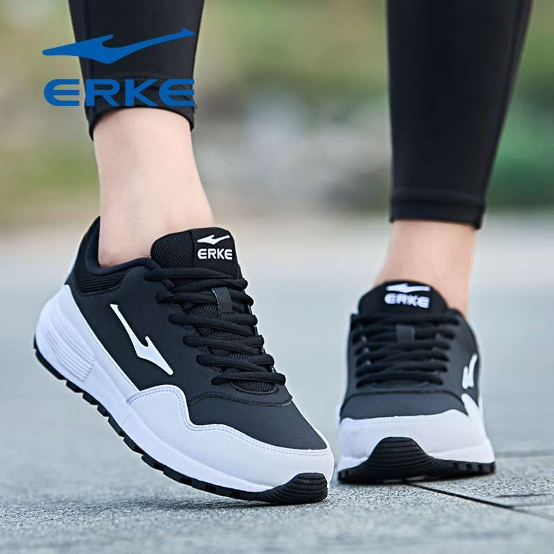 Erke Womens Leather Running Fitness Casual Shoes